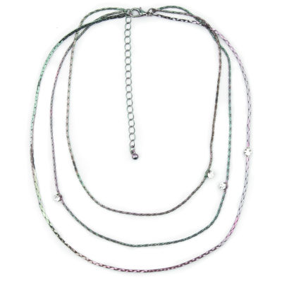 Arizona Womens 18 Inch Clear Link Necklace