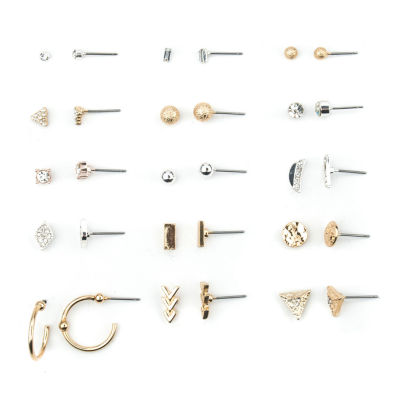Arizona 15 Pair Clear Earring Set