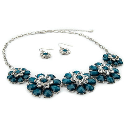 Mixit Womens Clear Silver Tone Flower 3-pc. Jewelry Set