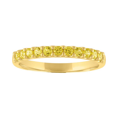Modern Bride Gemstone Womens Genuine Yellow Sapphire 10K Gold Stackable Ring