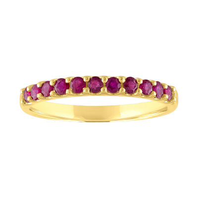 Modern Bride Gemstone Womens Lead Glass-Filled Red Ruby 10K Gold Stackable Ring