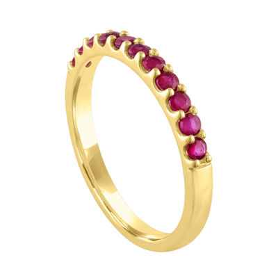 Modern Bride Gemstone Womens Lead Glass-Filled Red Ruby 10K Gold Wedding Stackable Ring