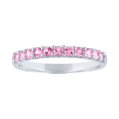 Modern Bride Gemstone Womens Genuine Pink Sapphire 10K Gold Wedding Stackable Ring