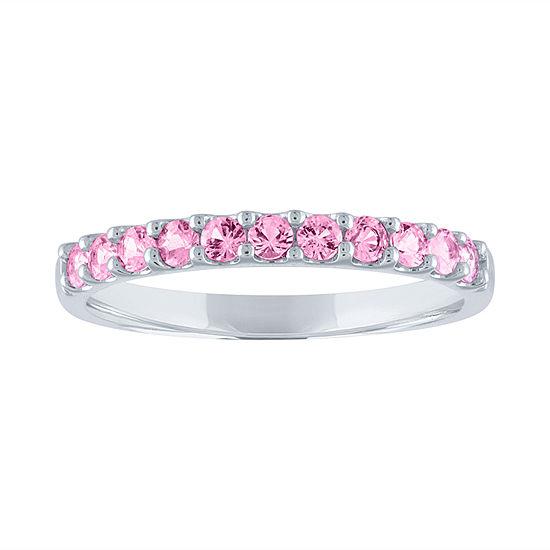 Modern Bride Gemstone Womens Genuine Pink Sapphire 10K Gold Wedding Stackable Ring