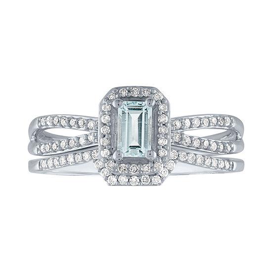 Modern Bride Gemstone Womens 1/5 CT. T.W. Genuine Blue Aquamarine 10K White Gold Bridal Set