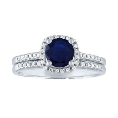 Modern Bride Gemstone Womens 1/5 CT. T.W. Genuine Blue Sapphire 10K White Gold Bridal Set
