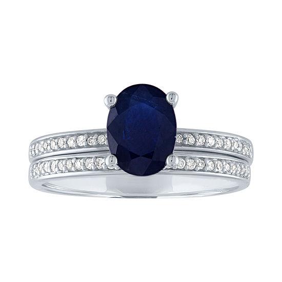 Modern Bride Gemstone Womens 1/7 CT. T.W. Genuine Blue Sapphire 10K White Gold Bridal Set