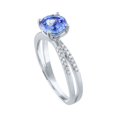Modern Bride Gemstone Womens Genuine Blue Tanzanite &  1/5 CT. T.W. Diamond 10K White Gold Bridal Set