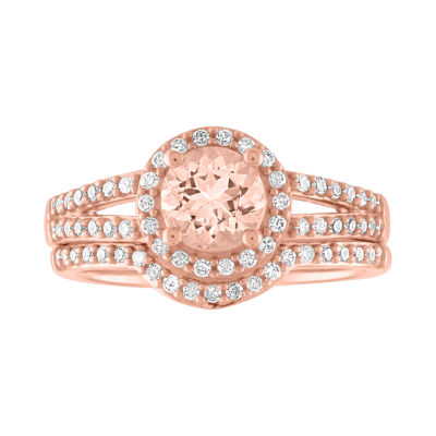 Modern Bride Gemstone Womens 1/3 CT. T.W. Genuine Pink Morganite 10K Rose Gold Bridal Set