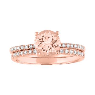 Modern Bride Gemstone Womens 1/5 CT. T.W. Genuine Pink Morganite 10K Rose Gold Bridal Set