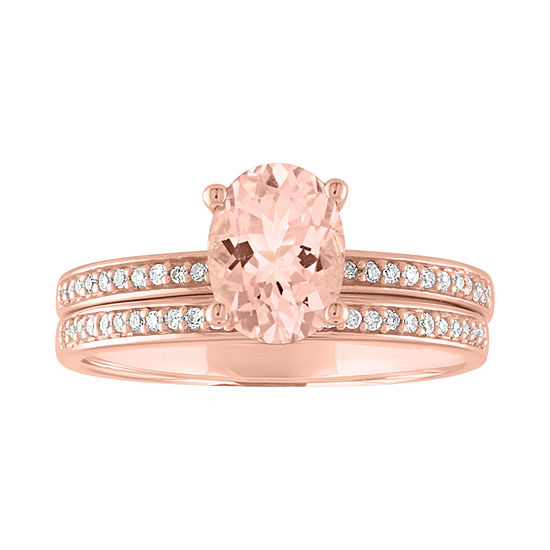 Modern Bride Gemstone Womens 1/7 CT. T.W. Genuine Pink Morganite 10K Rose Gold Bridal Set