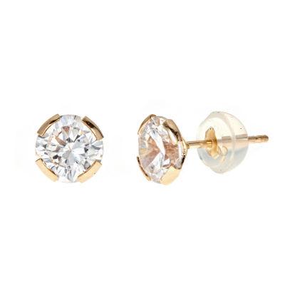 3 CT. T.W. White Cubic Zirconia 14K Gold 6mm Stud Earrings