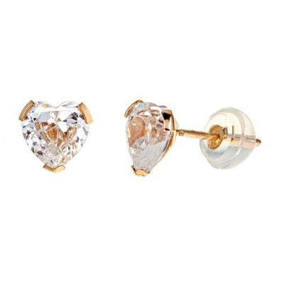 2 1/2 CT. T.W. White Cubic Zirconia 14K Gold 6mm Stud Earrings