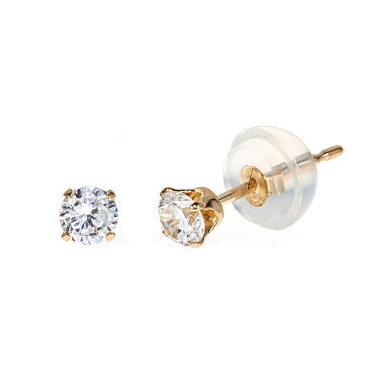 1 3 Ct Tw White Cubic Zirconia 14k Gold 3mm Stud Earrings