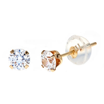 1 CT. T.W. White Cubic Zirconia 14K Gold 4mm Stud Earrings