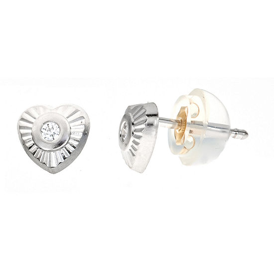 White Cubic Zirconia 14K Gold 5mm Heart Stud Earrings