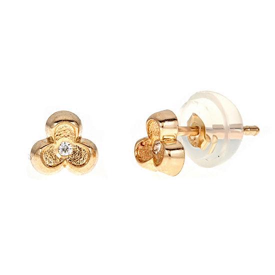 White Cubic Zirconia 14K Gold 4.5mm Flower Stud Earrings