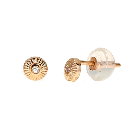 White Cubic Zirconia 14K Gold 4mm Round Stud Earrings