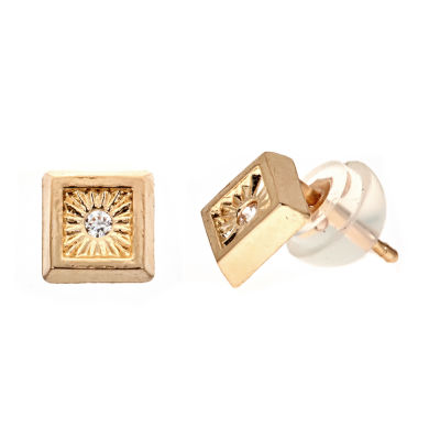 White Cubic Zirconia 14K Gold 5mm Square Stud Earrings