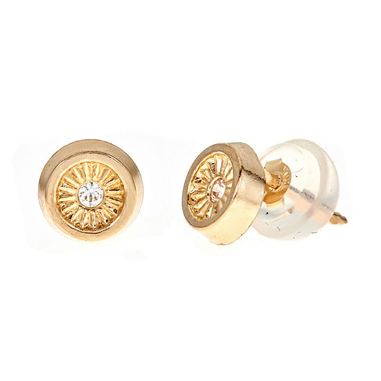 White Cubic Zirconia 14K Gold 5mm Round Stud Earrings