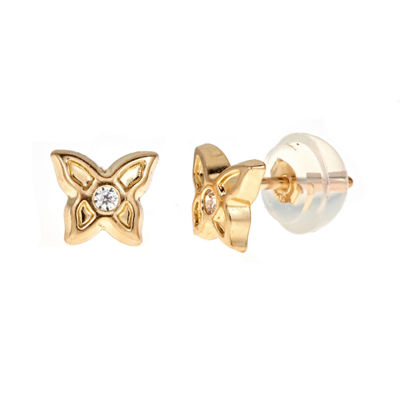 White Cubic Zirconia 14K Gold 5mm Butterfly Stud Earrings