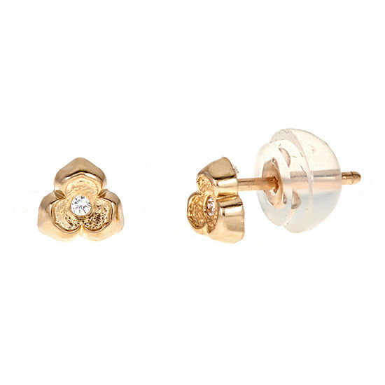White Cubic Zirconia 14k Gold 45mm Flower Stud Earrings