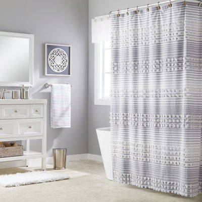 Saturday Knight Neutral Nuances Puffed Stripe Shower Curtain