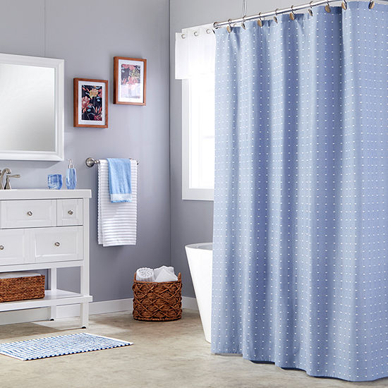 Saturday Knight Batik Blues Chambray Shower Curtain
