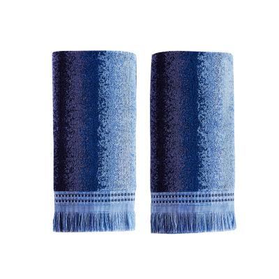 Saturday Knight Batik Blues Eckhart  Stripe 2-pc. Hand Towel