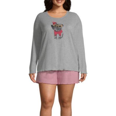 Ambrielle 3-piece Pant and Short Pajama Set-Plus
