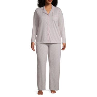 Adonna Knit Notch Collar Pant Pajama Set-Plus