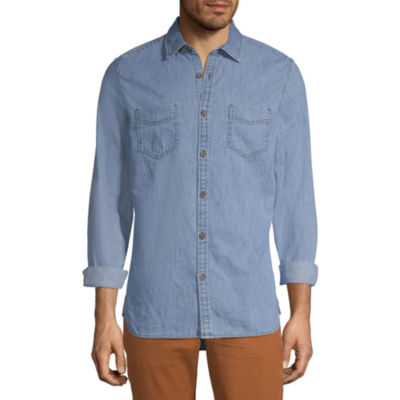 Peyton & Parker Mens Long Sleeve Button-Front Shirt