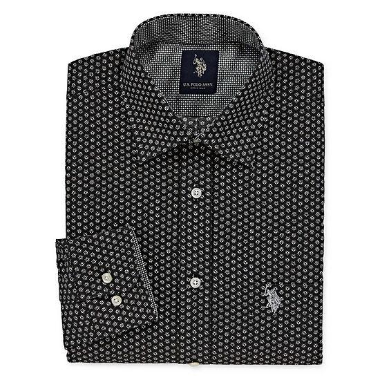 U.S. Polo Assn.Dress Shirt Big And Tall Long Sleeve Medallion Dress Shirt