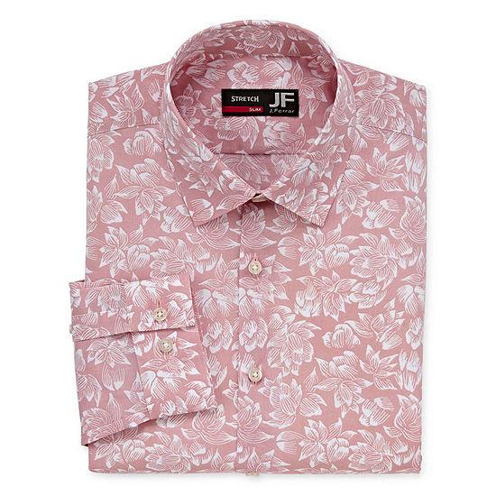 JF J.Ferrar Easy Care Stretch Solid Mens Spread Collar Long Sleeve Stretch Dress Shirt