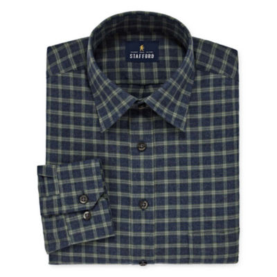 Stafford Brushed Cotton Long Sleeve Grid Dress Shirt-Big And Tall