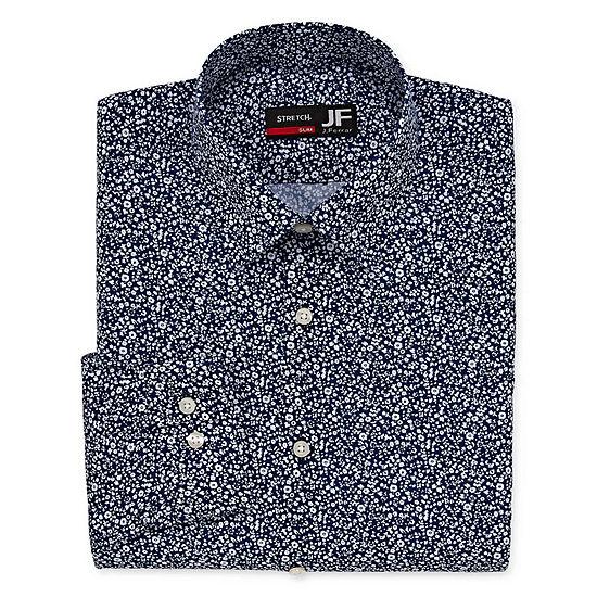 JF J.Ferrar Easy Care Stretch Solid Big And Tall Mens Spread Collar Long Sleeve Stretch Dress Shirt