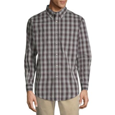Haggar Mens Long Sleeve Plaid Button-Front Shirt