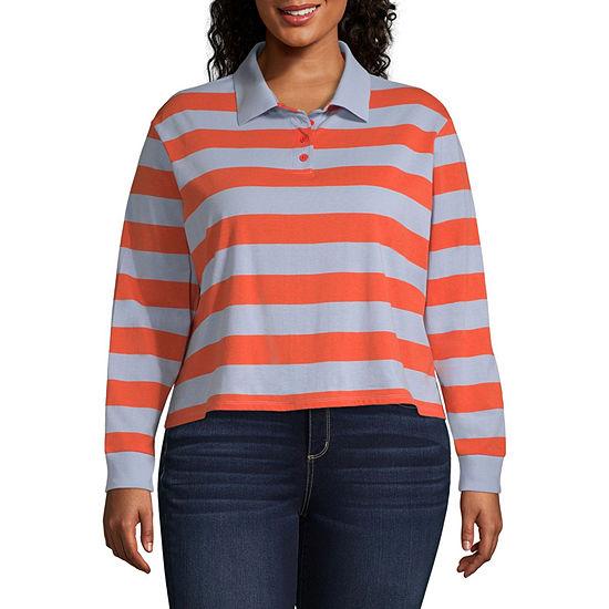Arizona Womens Long Sleeve Knit Polo Shirt Juniors Plus