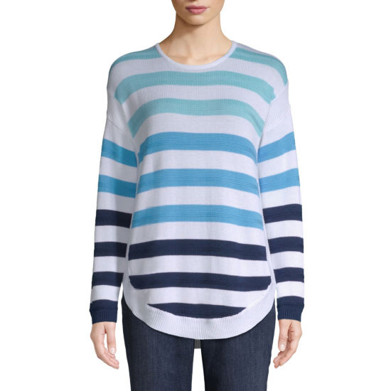 St. John's Bay Womens Scoop Neck Long Sleeve Striped Pullover Sweater