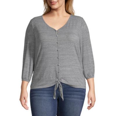 Boutique + 3/4 Sleeve V Neck T-Shirt - Plus