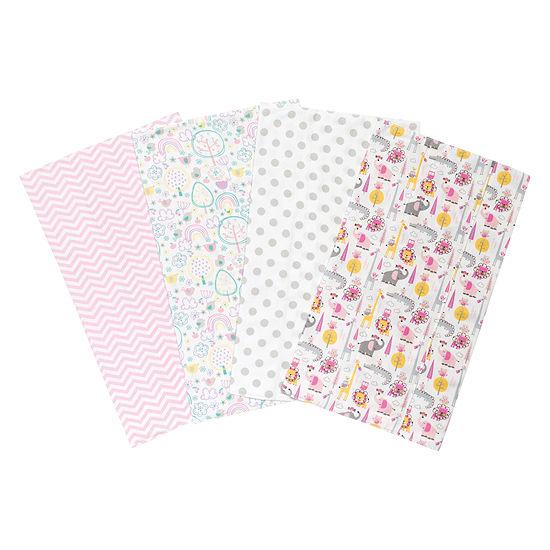 Trend Lab Pink Safari 4-Pk. Flannel Burp Cloth Burp Cloth