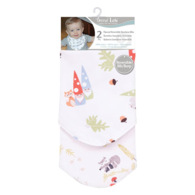 Trend Lab Woodsy Gnomes Flannel Bandana 2-pc Bib -Unisex
