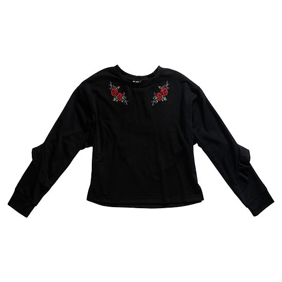 Obsess Girls Round Neck Long Sleeve Embroidered Blouse Big Kid