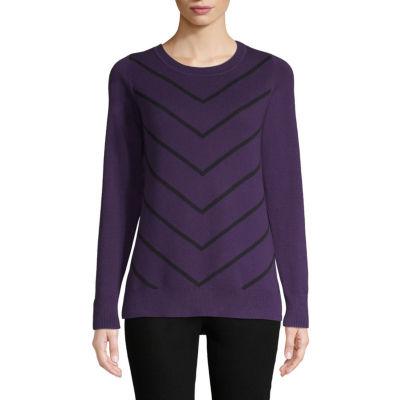 Liz Claiborne Long Sleeve Chevron Pullover Sweater - Tall