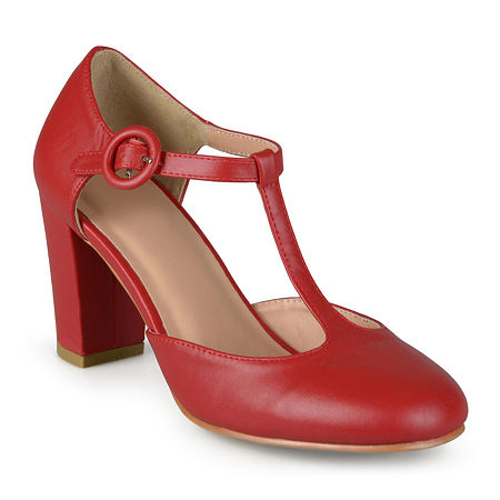 1950s Style Shoes | Heels, Flats, Boots Journee Collection Womens Talie T-Strap Pumps 9 Medium Red $34.99 AT vintagedancer.com