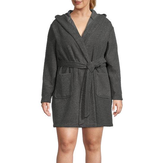 Ambrielle Womens-Plus Fleece Robe Long Sleeve Short Length