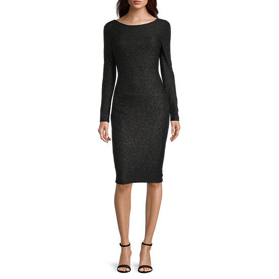 Premier Amour Long Sleeve Glitter Sheath Dress
