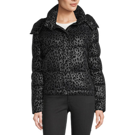 BCBGMAXAZRIA Hooded Midweight Puffer Jacket, Small , Black
