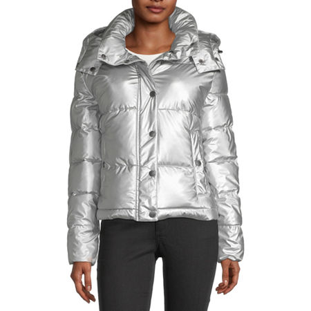 BCBGMAXAZRIA Hooded Midweight Puffer Jacket, Small , Silver