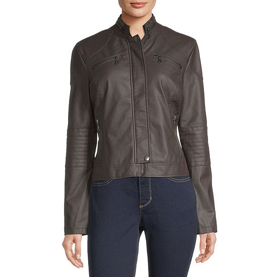Faux Leather Lightweight Jacket-Juniors